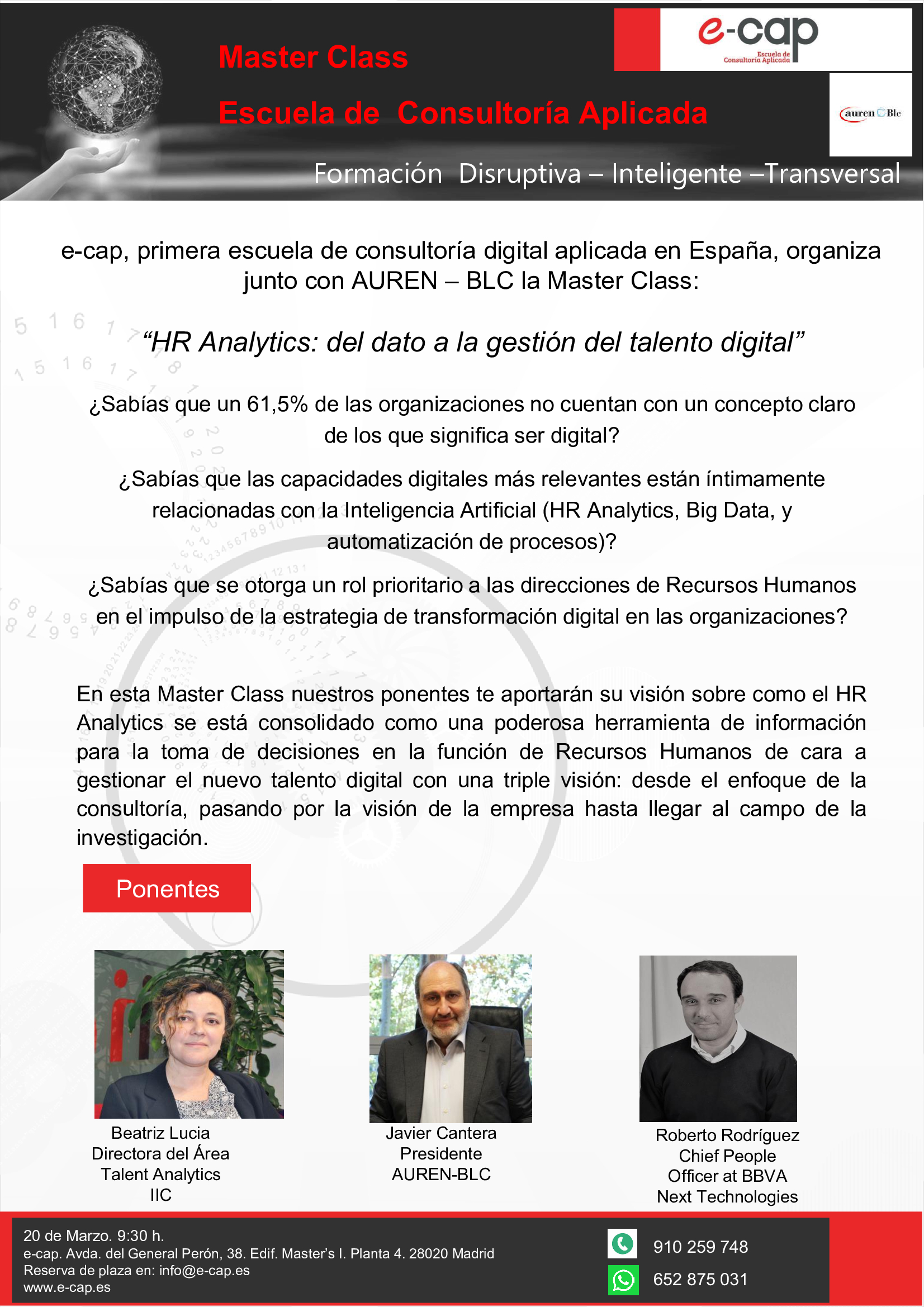 MasterClass HR Analytics presencial o por streaming